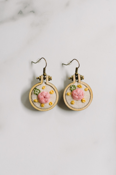 How to Make Mini Embroidery Hoop Earrings