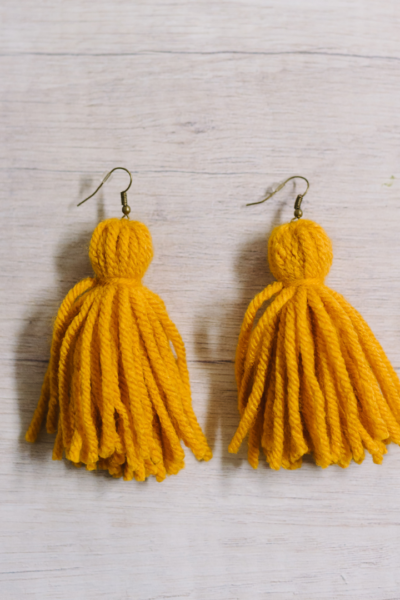 how to make yarn tassel earrings